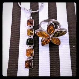 Jewelry - Sterling silver Amber stone ring and matching